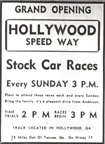Advertisement for the opening event at the Hollywood Speedway from the May 13, 1956 edition of the Anderson Independent Newspaper. Clipping courtesy Mike Bell.