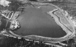 Lakewood Speedway, from over turns one and two.  Photo was taken sometime in the 1940s or 1950s.