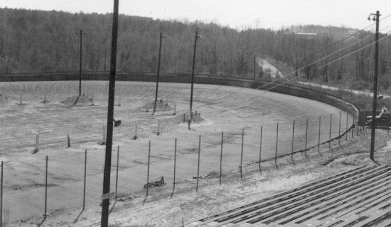 Looking into turn one from the stands.  That's Jimmie Daniels Road off of turn one.