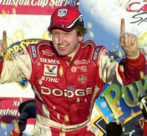 Bill Elliott celebrates a victory in 2002.  Photo courtesy of GARHOFA