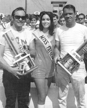 The Falstaff Beer Twin 50s at Smokey Mountain Raceway had two winners in 1971, Freddy Fryar (left) and Bob Burcham (right).