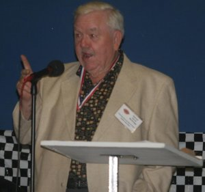 McQuagg shares stories of his racing days and friends during the GRHOF induction banquet in 2008.  He passed away in January of 2009.  Photo by Brandon Reed
