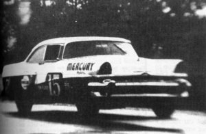 With wipers going and water coming from the tires, Tim Flock races his way to his 40th career Cup victory, and the first in NASCAR history in the rain.  This race came some 52 years prior to the NNWS event that NASCAR's PR conglomerate CLAIMS was the first event in the rain.