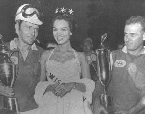 Flock with Bill Stroppe and Miss Wisconsin in victory lane at Road America.