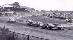 Marshall Teague and Tim Flock (91) lead the field at the start of the 1951 NASCAR event at Central City Speedway in Macon, Georgia.  Photo courtesy the Jesse James Taylor family.