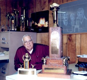 Georgia Racing Hall of Famer Jack Smith with his trophy from the 1951 NSCRA season in 1999.  Photo courtesy Eddie Samples