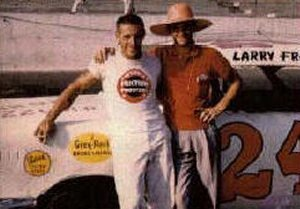 Larry Frank and Paul McDuffie (wearing his familiar straw hat) at Darlington, S.C.  Photo courtesy GRHOF