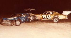 Rance Phillips (90) and Harvey Jones (6) got together in this crash at Lake City in 1980.  Rance said Harvey had spun him in the heat race so he wrecked him in the feature.