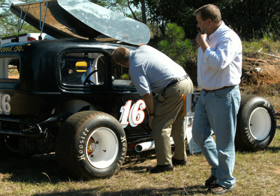 "Charlie Mincey's #16 restored ""Skeeter"" was onhand, and was a crowd favorite as udual.  The car's owner, Happy Winslett of Brunswick, Georgia, can be seen walking in the foreground."