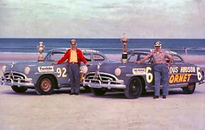 Herb Thomas (left) and Marshall Teague (right) went three for three at Daytona Beach, Jacksonville and North Wilkesboro.