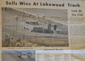 The front page of the March 20, 1968 edition of Rebel Racing News features Leon Sells winning at Atlanta's Lakewood Speedway. Photos by Mike Bell